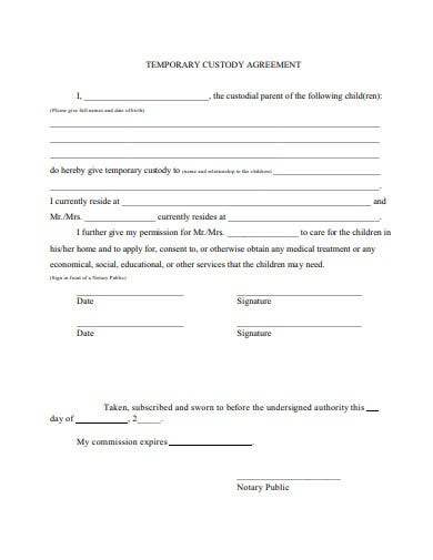 temporary custody agreement example