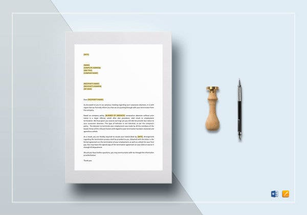 termination letter excessive absenteeism docx1