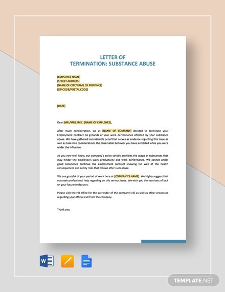 termination letter substance abuse