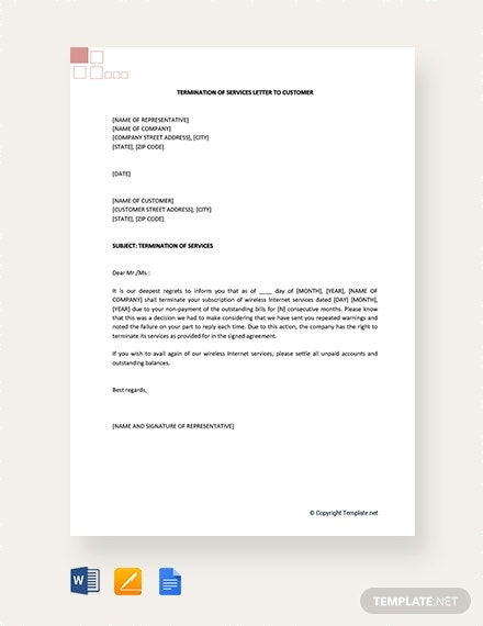 termination of services letter to customer