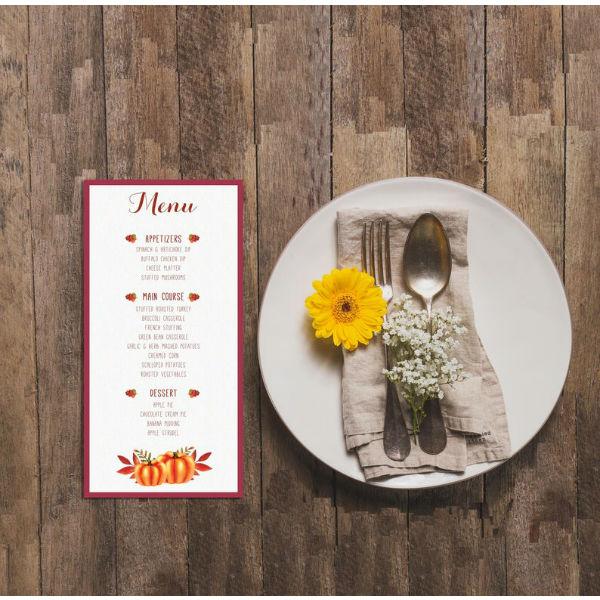 thanksgiving printable menu template