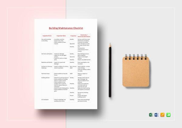 the building maintenance checklist template