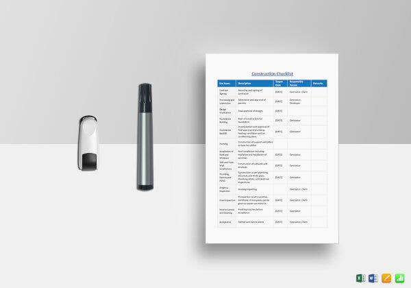 the construction checklist template