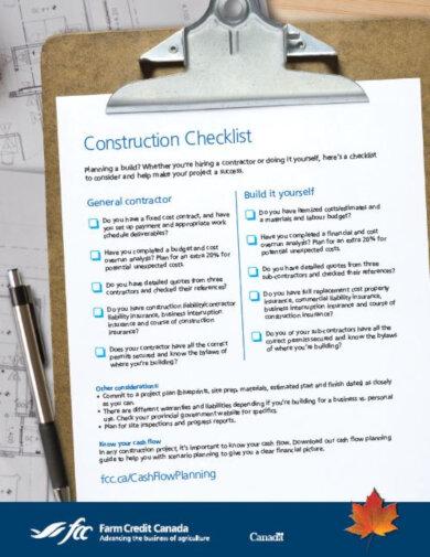the fcc construction checklist template