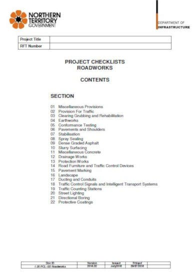 the roadworks project checklists template