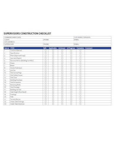 the supervisors construction checklist template