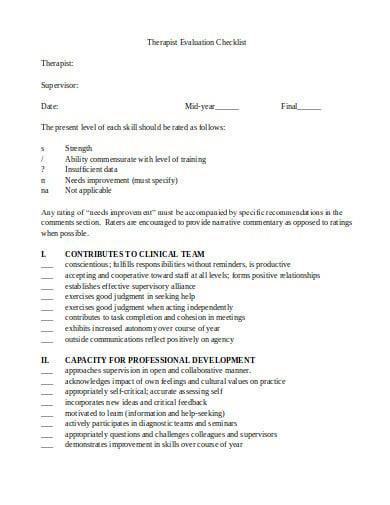 therapist evaluation checklist