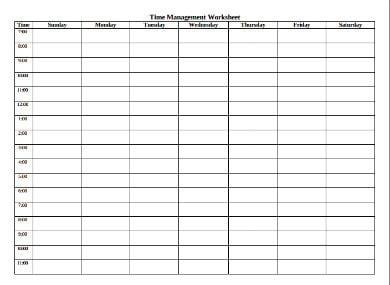 time management worksheet template