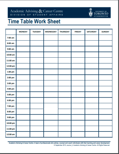 time table work sheet template1