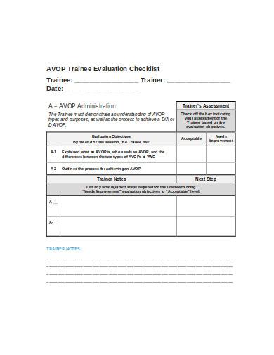 trainee evaluation checklist template
