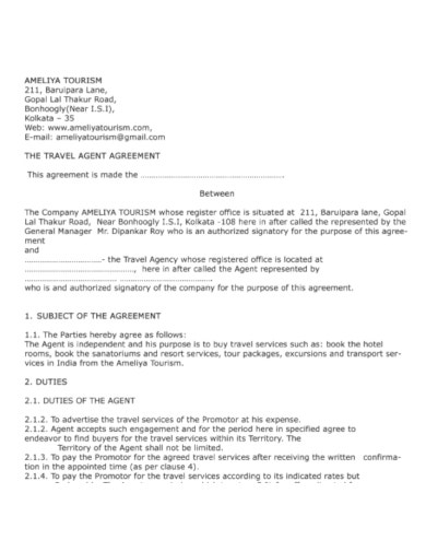 travel agency agreement example