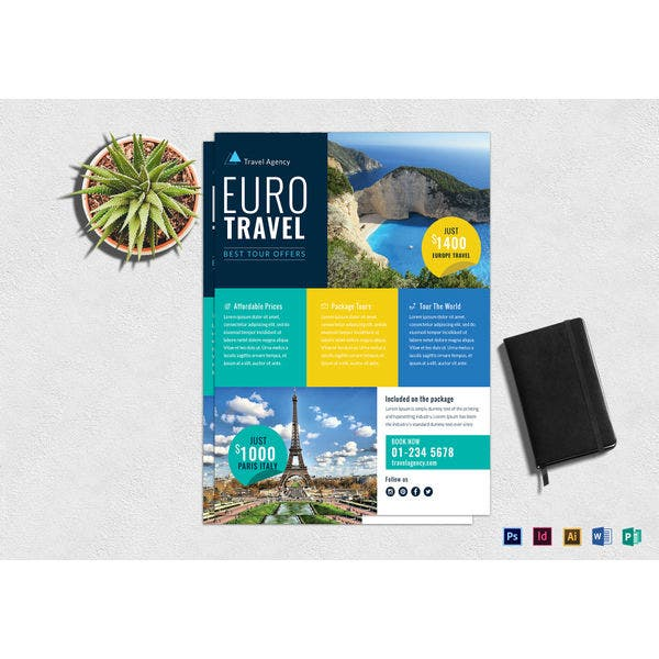 travel agency marketing flyer template