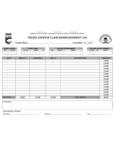 travel claim reimbursement log template