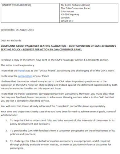 travel complaint letter layout