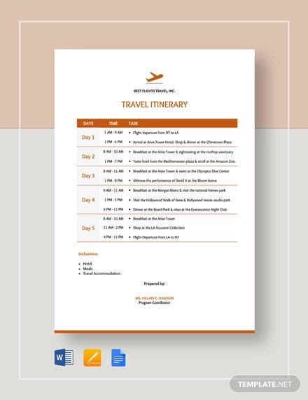 travel itinerary template3