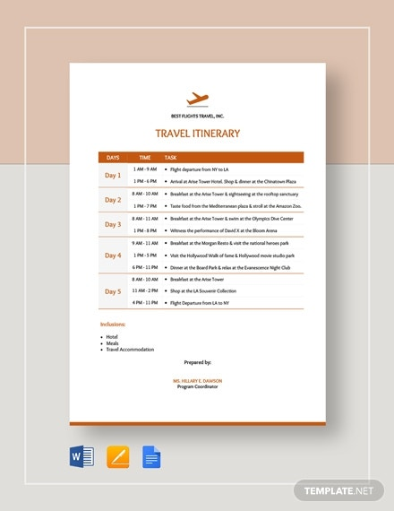 travel itinerary template5