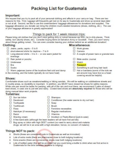 travel packing list format