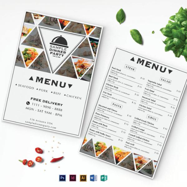 triangle pattern dinner menu format
