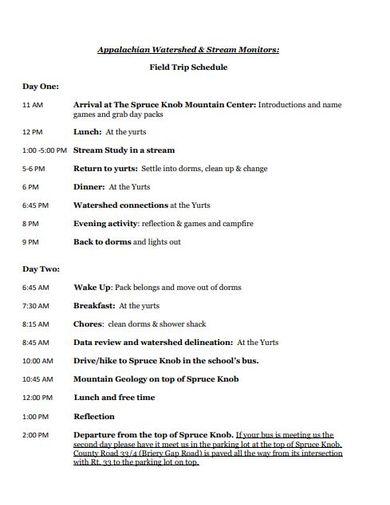 trip schedule format
