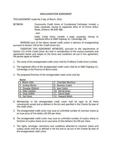 union amalgamation agreement