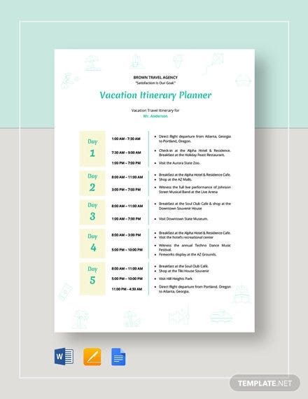 vacation itinerary planner template1