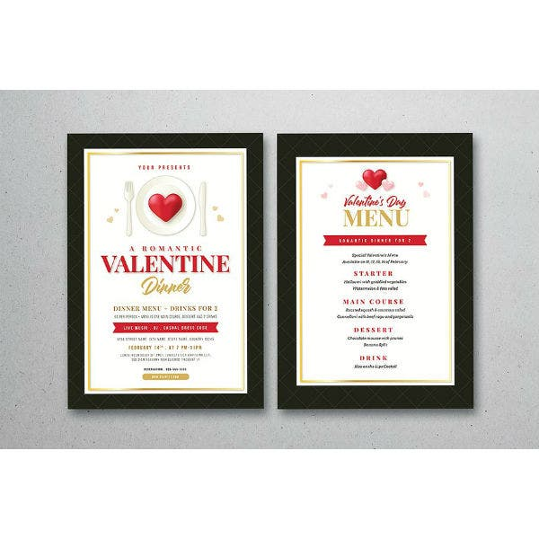 valentines day dinner flyer menu template
