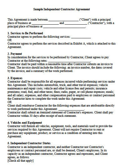 vertical independent construction contractor agreement