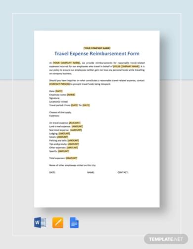 vertical travel expense reimbursement form template