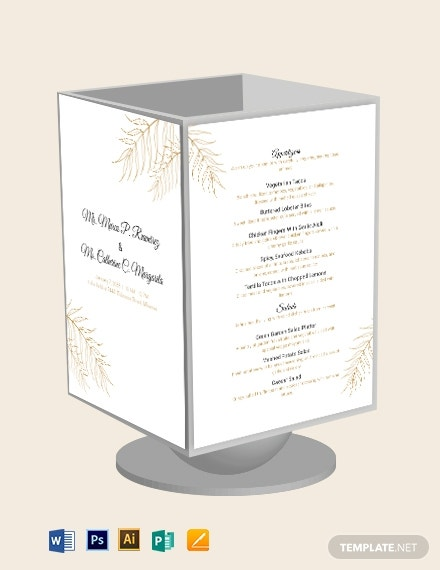 wedding table tent menu template