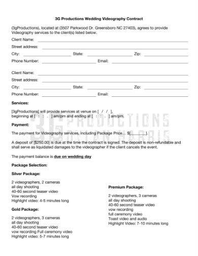 wedding video contract 1