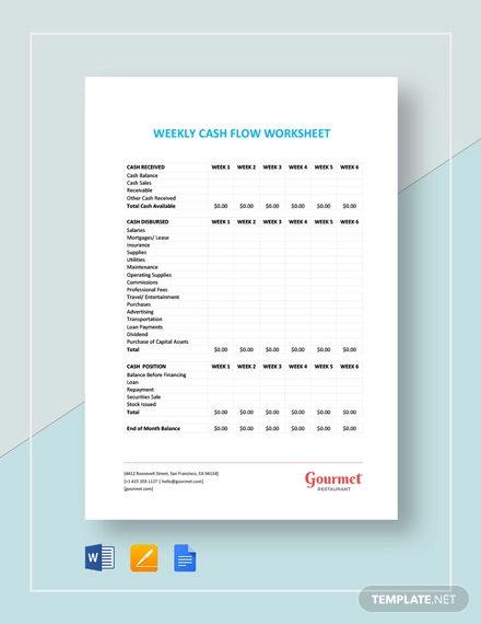 weekly cash flow worksheet template