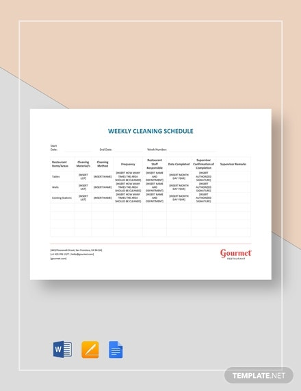 weekly cleaning schedule planner template