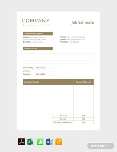 well formatted job estimate template