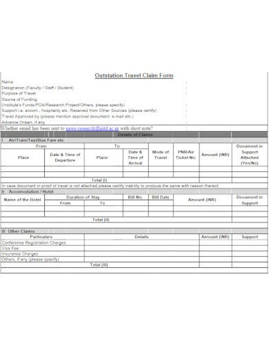 well formatted school outstation travel allowance claim form template