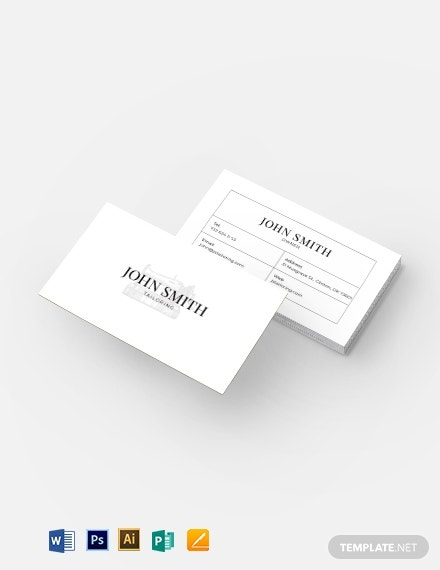 white financial business card format