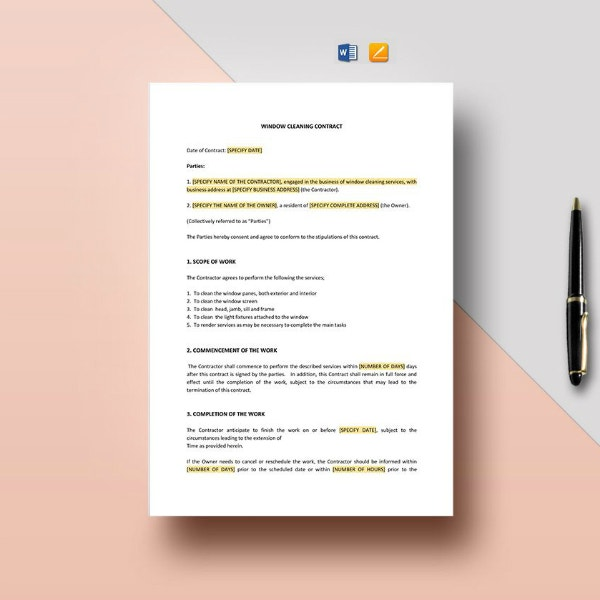window cleaning company contract format