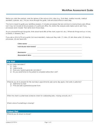 workflow assessment example in pdf