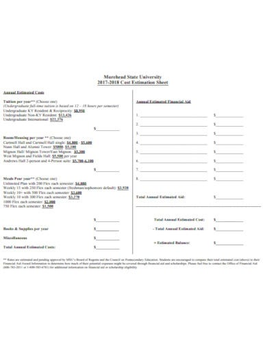 yearly estimate sheet template