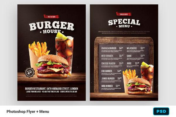 burger psd flyer menu template