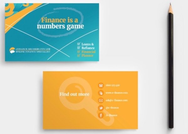 efinance service business card template