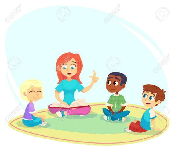 female teacher read book children sit on floor in circle and listen to her preschool activities and