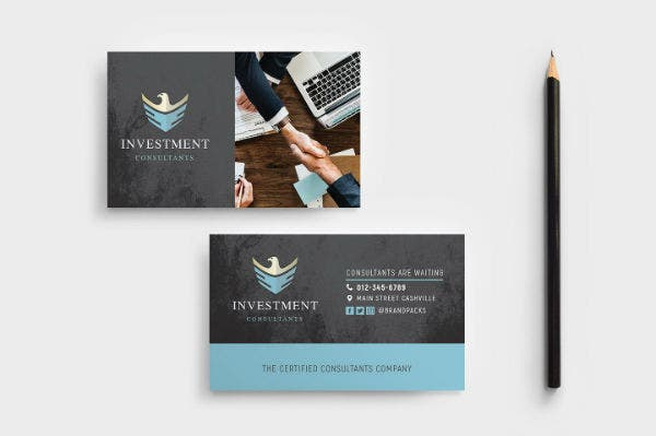 investment consultant business card template