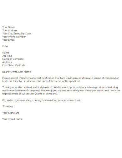 job resignation letter template1