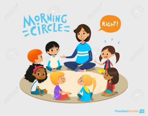 smiling kindergarten teacher talks to children sitting in circle and asks them questions preschool a