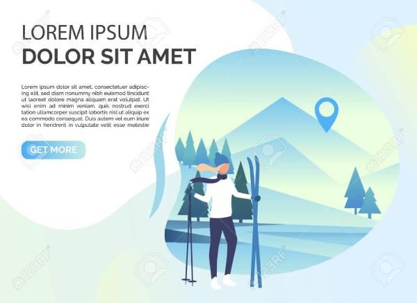 121814178 skier woman snowy landscape and sample text tourism winter leisure concept presentation slide templa 1