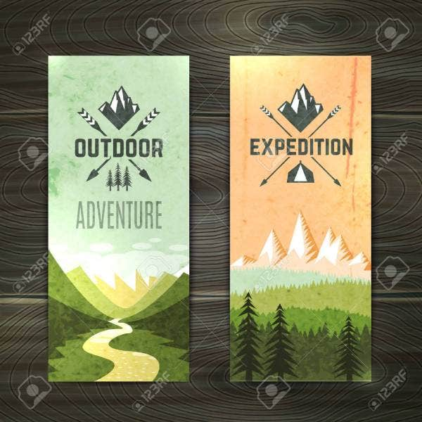 36520265 tourism hiking holidays forest landscape with mountain peaks and two vertical banners set abstract i 1