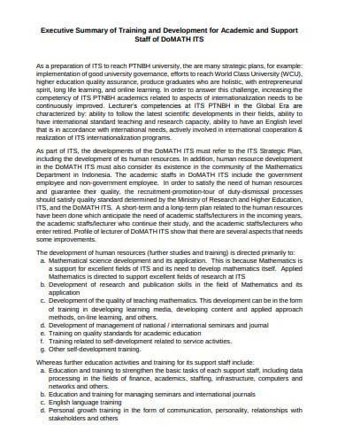 academic training evaluation executive summary