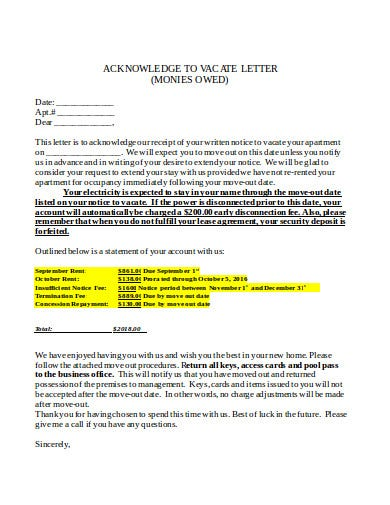 acknowledge vacate letter
