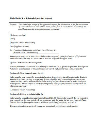 acknowledgement of request letter