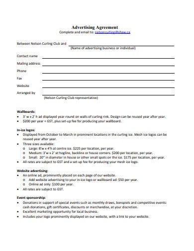 advertising agreement in pdf